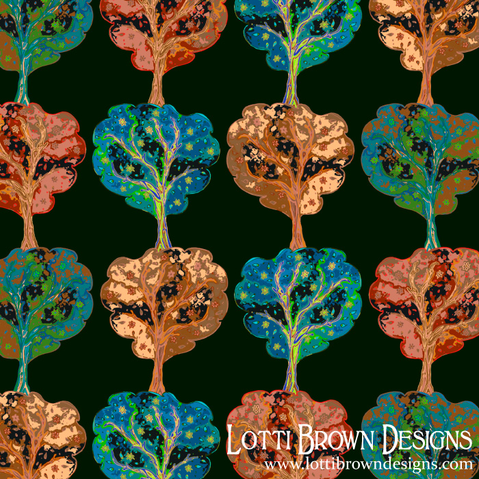 Trees co-ordinate pattern, by Lotti Brown