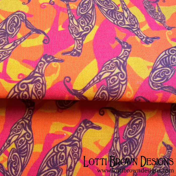 Greyhound camo fabric orange and yellow