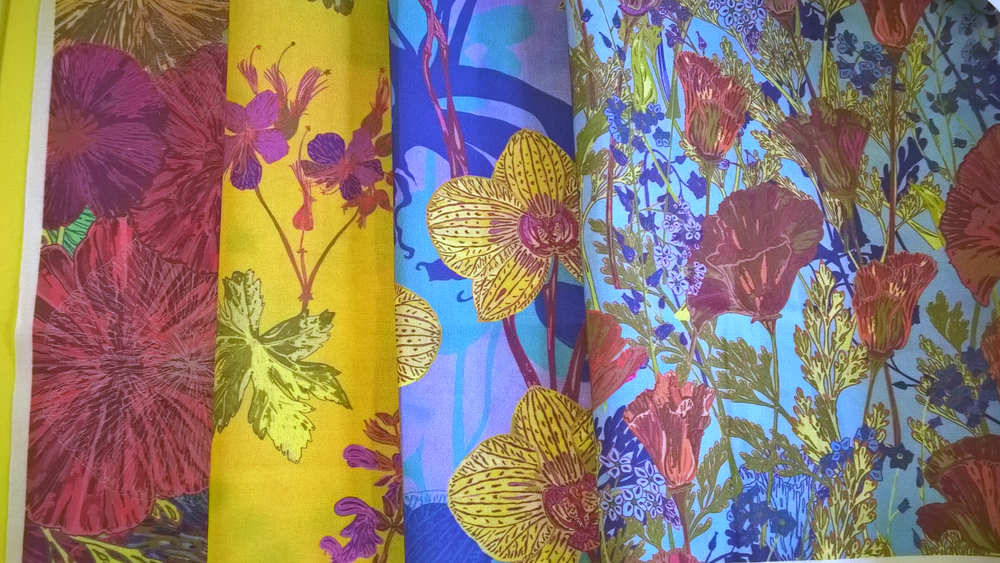 Colourful summer garden floral fabric collection