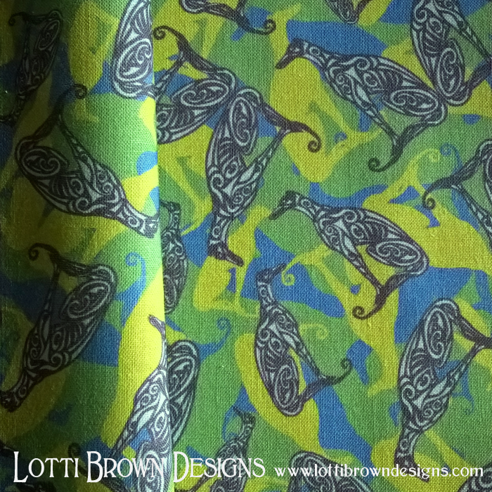 Greyhound fabric in blue and green