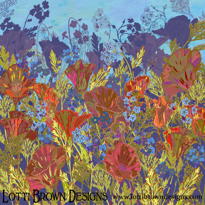 'Remembering' Poppies floral art print, by Lotti Brown