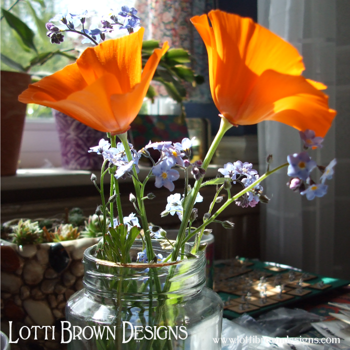 Drawing poppies and forget-me-nots gathered from my own cottage garden