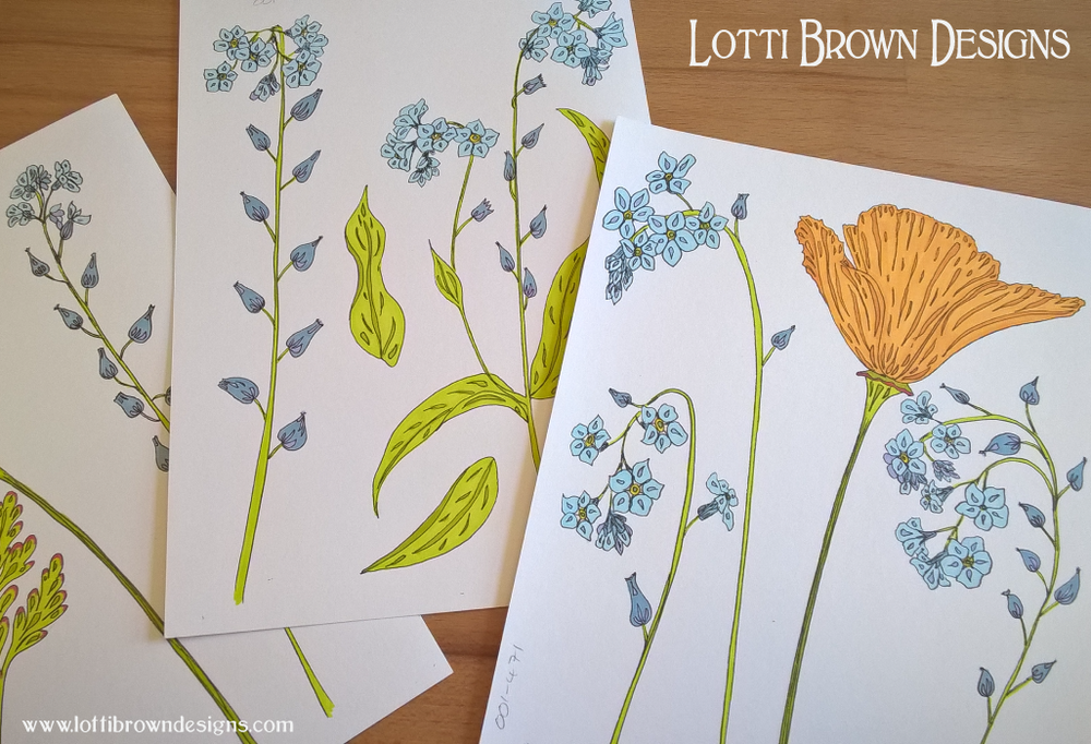 Drawing forget-me-not flowers