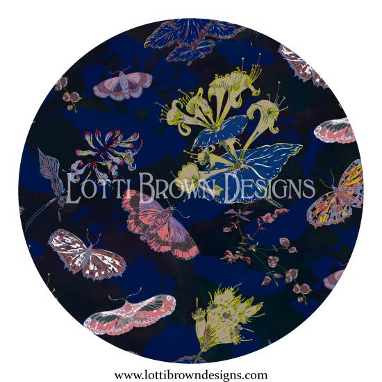 'Night Flights' dark floral pattern