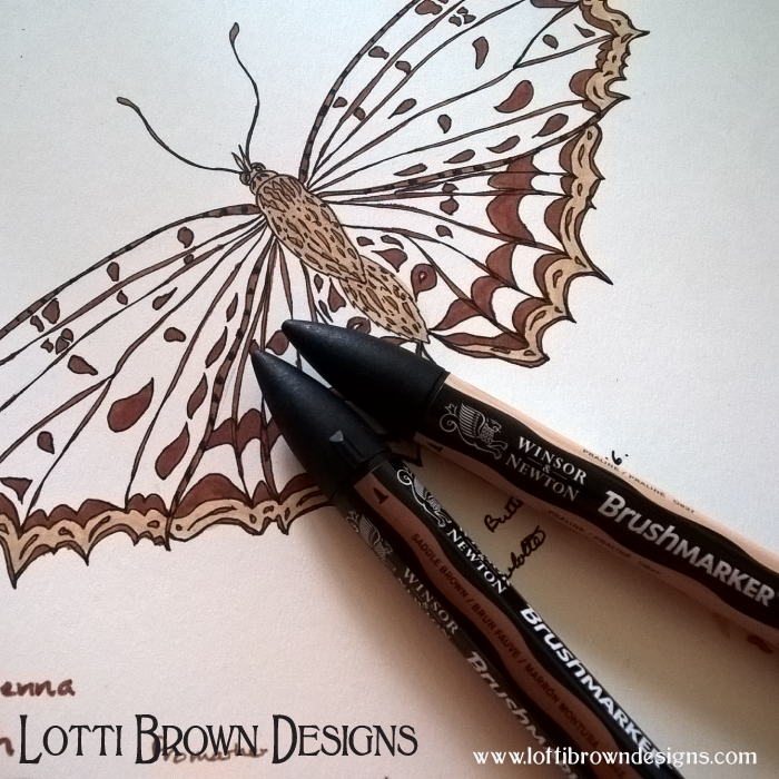 Drawing the butterfly with Brushmarkers (black outlines were drawn with a fine-liner, not Brushmarker)