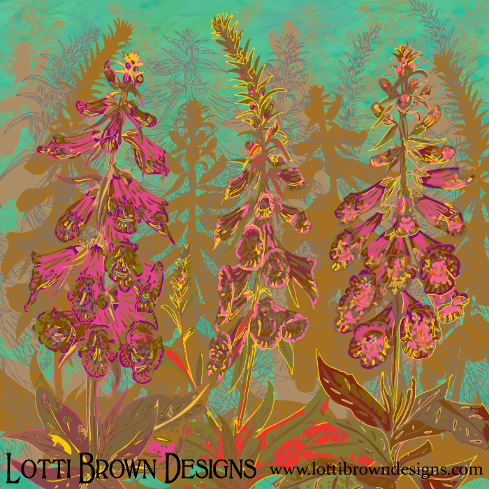 'Fun with Foxgloves' art print