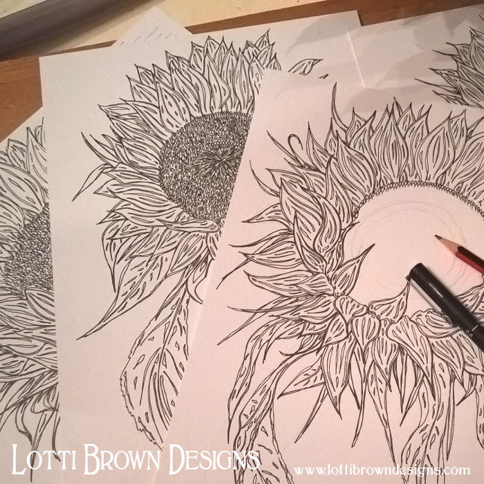 Sunflower drawings