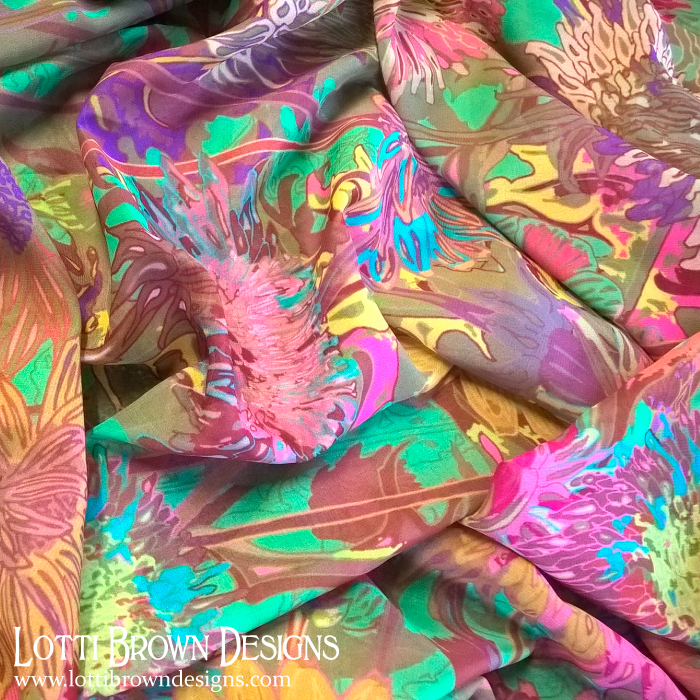 Colourful silky scarf