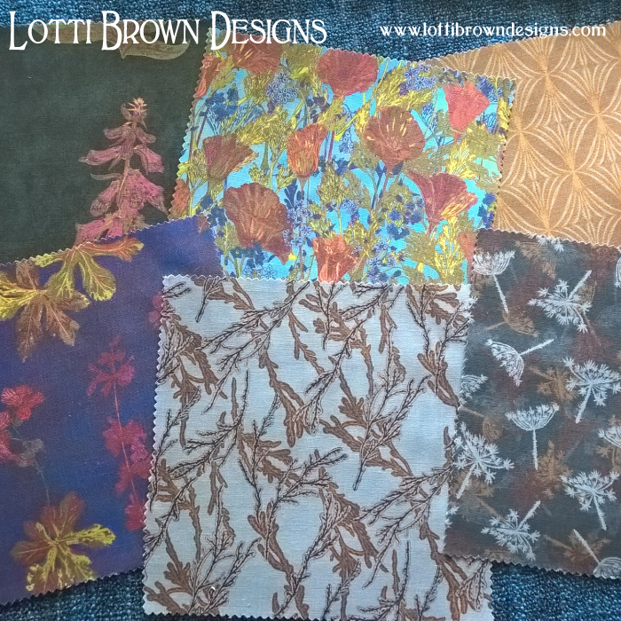 Selection of Lotti Brown fabrics available from Print & Press London