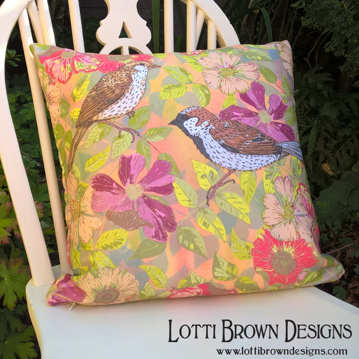 Sweet Sparrows and Briar Rose throw pillow