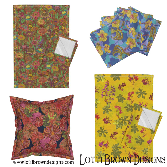 A selection of designs available by Lotti Brown at Roostery