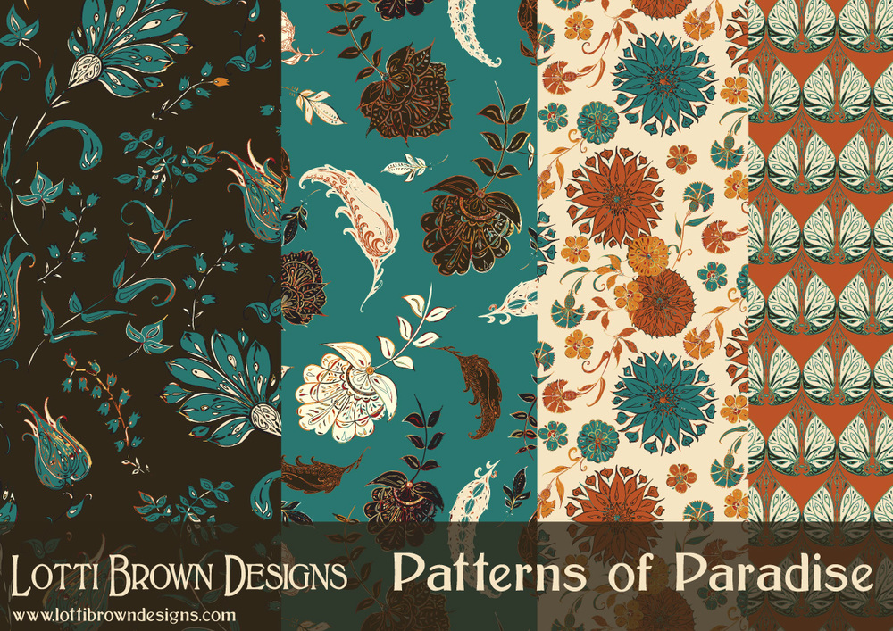 Patterns of Paradise - surface pattern design collection by Lotti Brown