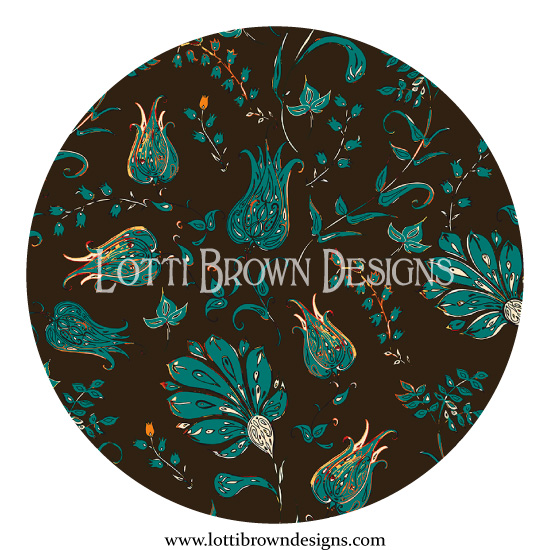 Patterns of Paradise - in dramatic brown and jade
