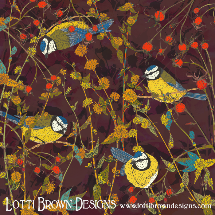 Beautiful Bluetits artwork, by Lotti Brown