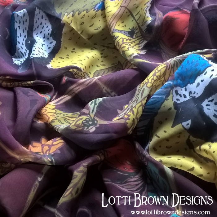 Soft, silky, semi-sheer scarf, available from the Lotti Brown Redbubble store.