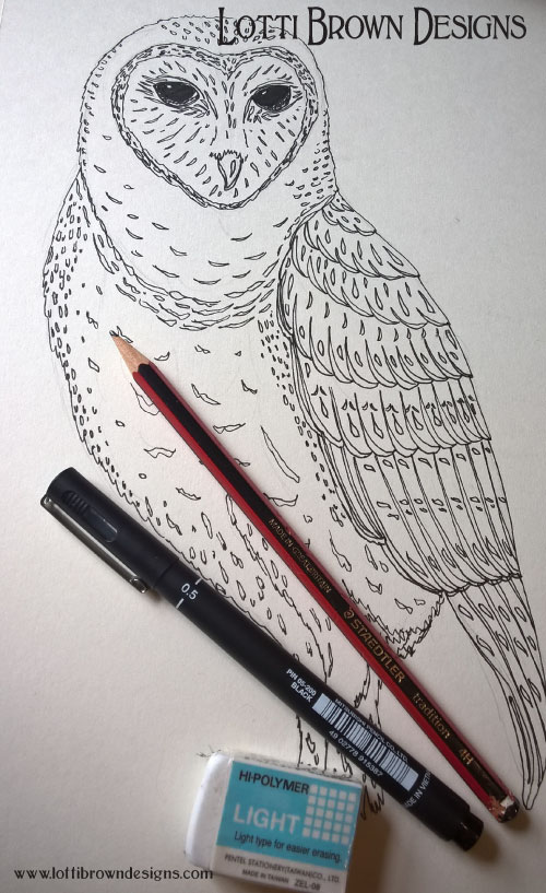 Owl drawn in fine-line black pen