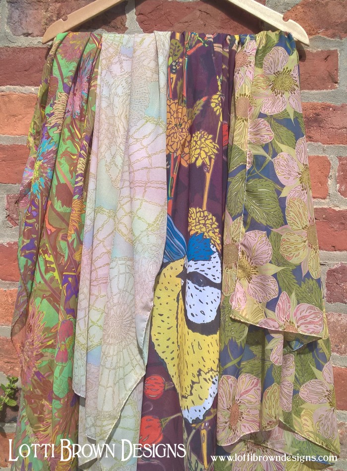 Silky scarves by Lotti Brown