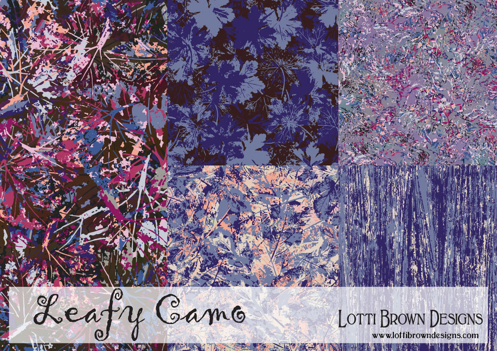 Leafy Camo textile design collection by Lotti Brown