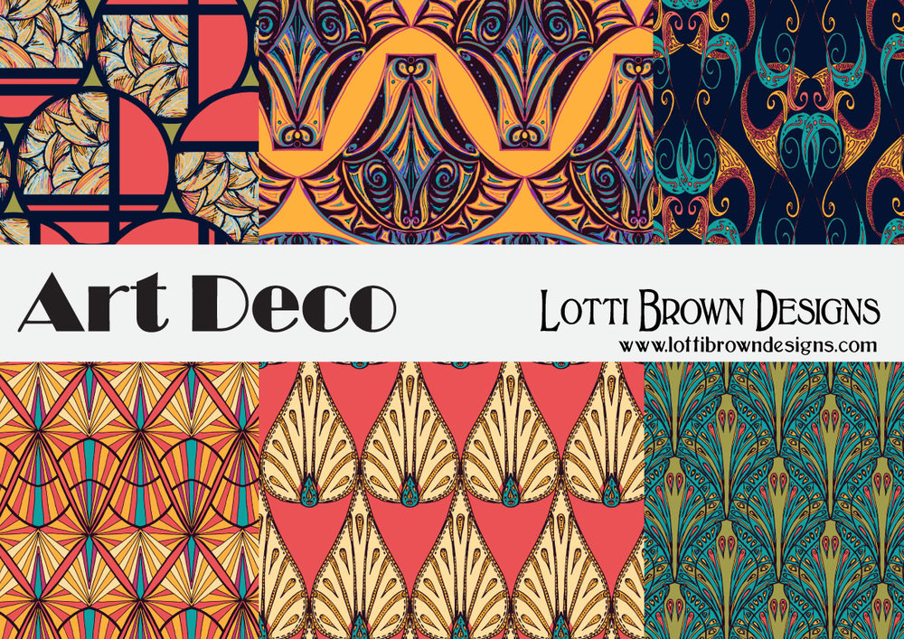 Art Deco pattern design collection for fabrics, by Lotti Brown