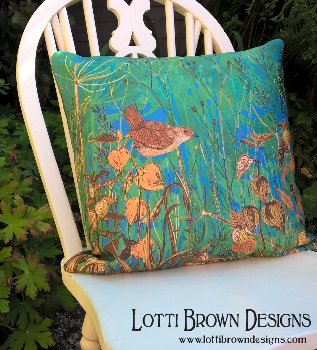 Wren cushion, available at Redbubble, designed by Lotti Brown