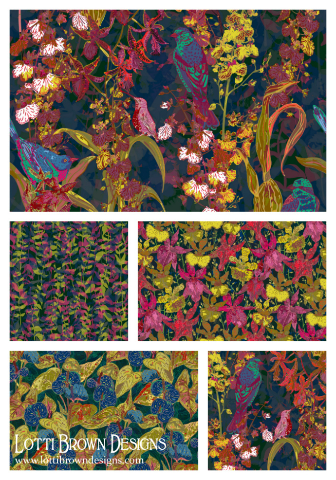 Tropical collection, available for wallpapers, matching fabrics also available