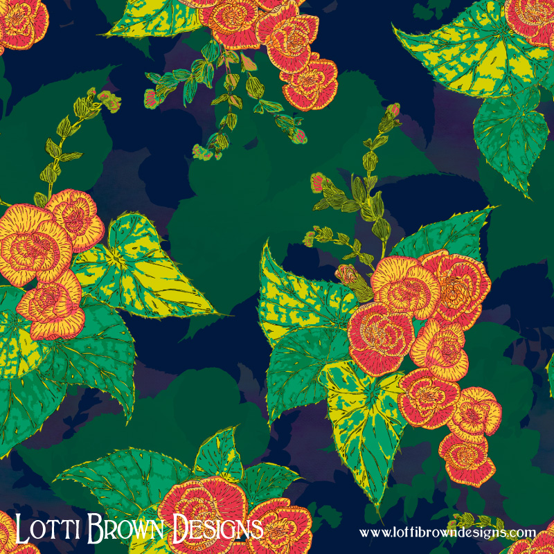 Tropical Begonias pattern