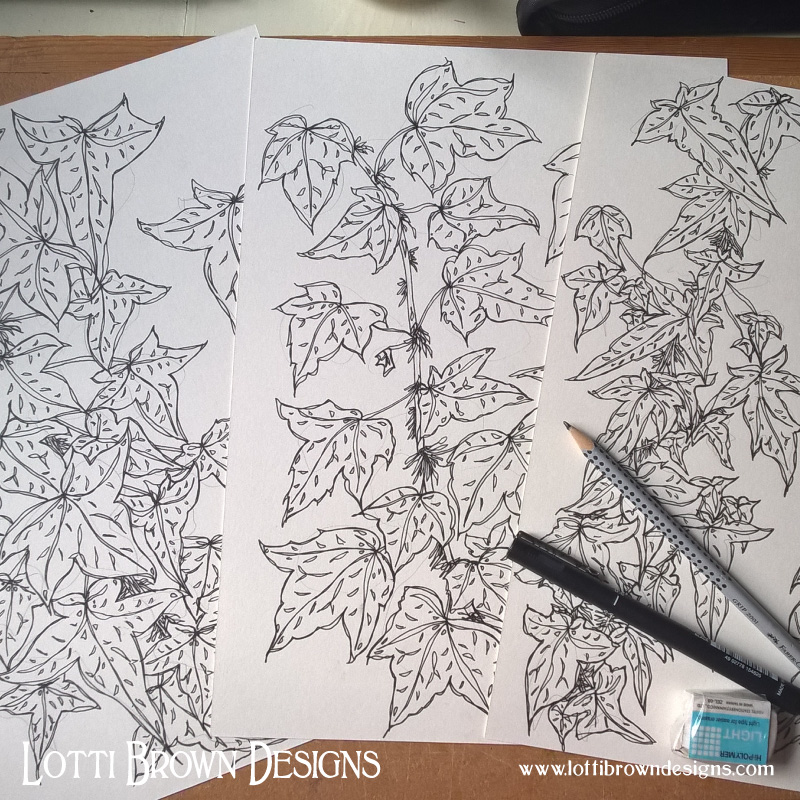 Intricate ivy drawings (before adding coloured ink)