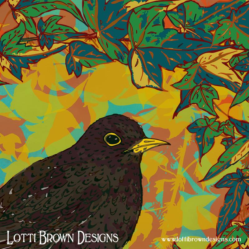 Detail of the blackbird artwork