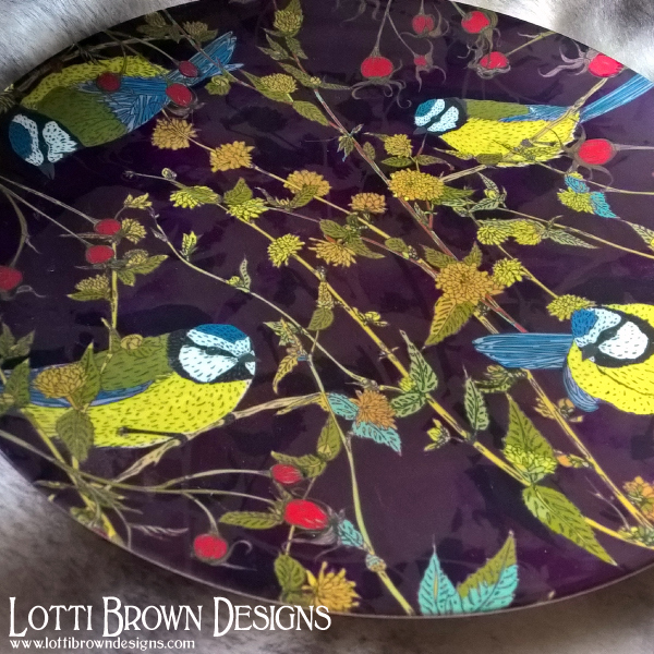 "Vibrant colours and sharp detail in this glossy finish 10"" china plate in my Blue Tits design from my Beautiful Birds collection"