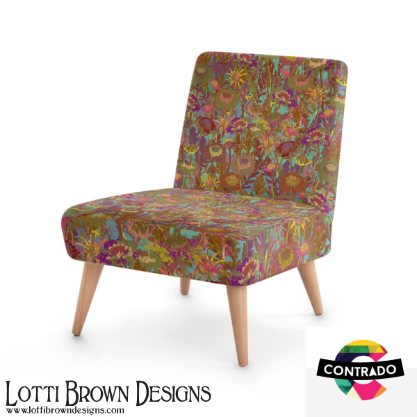 Colourful occasional chair printed with my Morning Walk meadow floral design from my Back to Nature collection