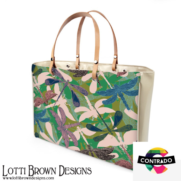 Stunning luxury handbag featuring my Dancing Dragonflies design, from my Japanese Garden collection