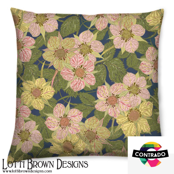 Strawberry Flowers Cushion