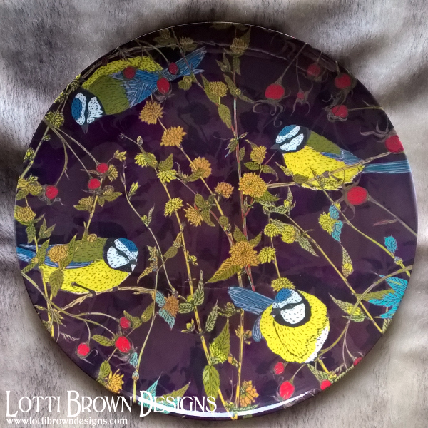 Blue Tits china plate - use or display - collect different bird designs from my Beautiful Birds range
