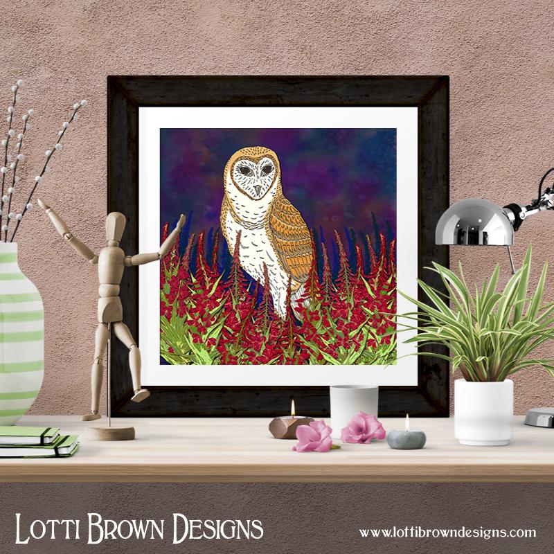 Fireweed Barn Owl art print