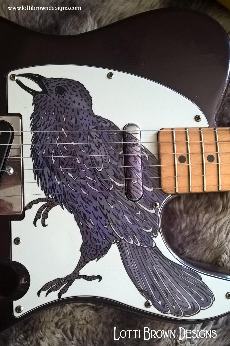 Raven guitar scratchplate