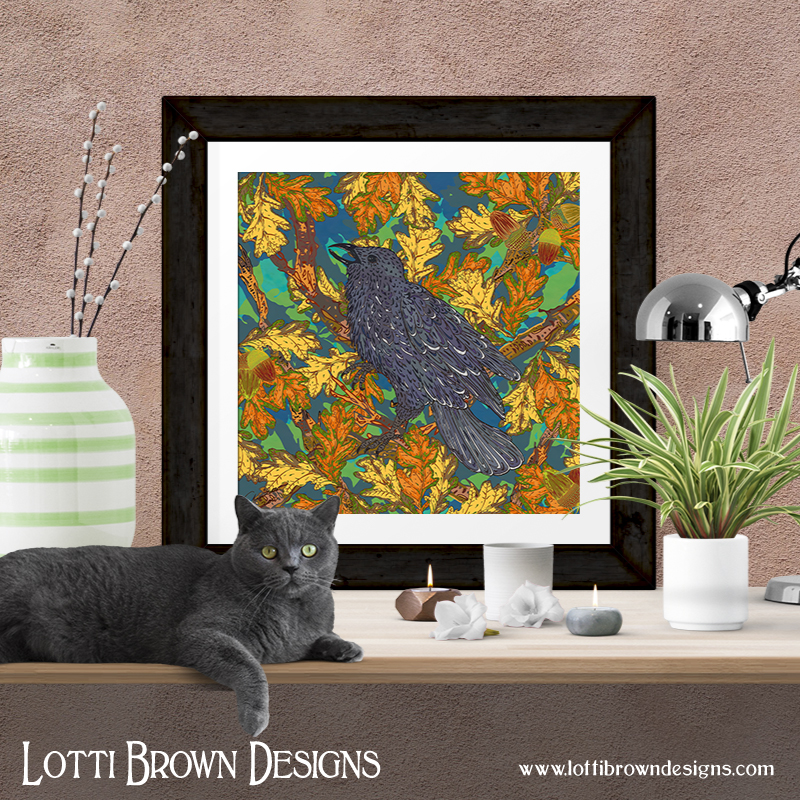 Unframed art prints of my Raven and Oak artwork are available from my online art store
