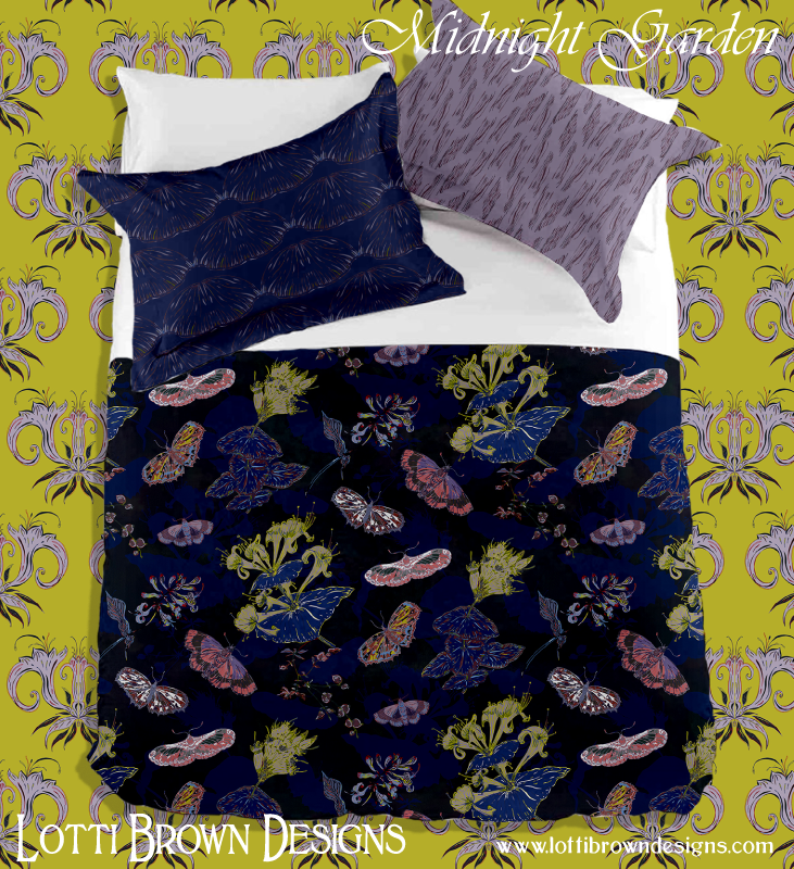 Midnight Garden collection for fabrics and interiors by Lotti Brown