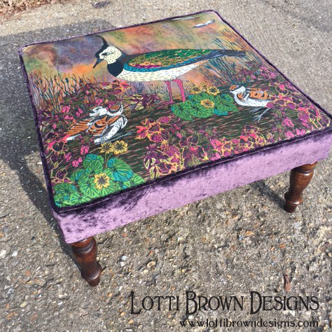 Stunning - lovely lapwing footstool created with a custom fabric print