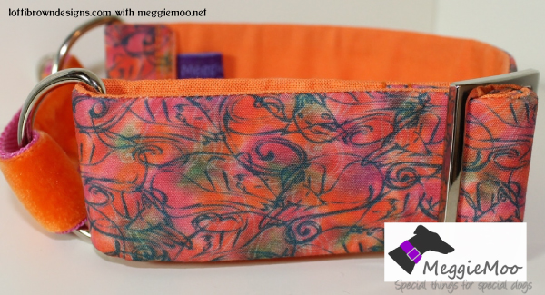 Vibrant orange and red greyhound collar