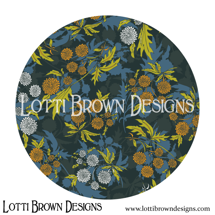 Dark floral surface pattern design