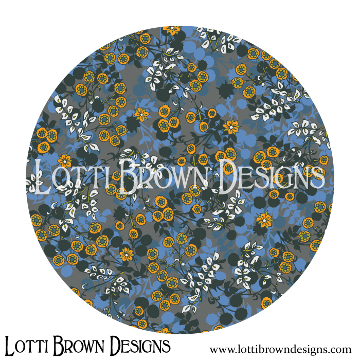 Blue ditsy floral pattern