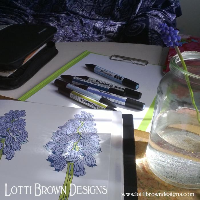 Drawing flowers - artwork in progress
