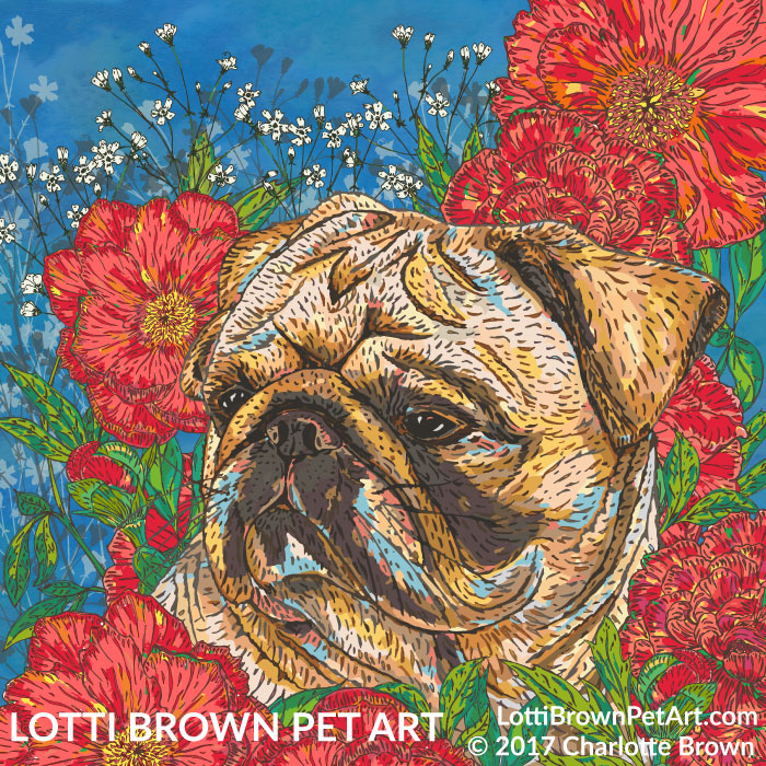 Pug in Peonies artwork by Lotti Brown