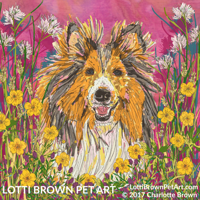 The completed colourful sheltie artwork