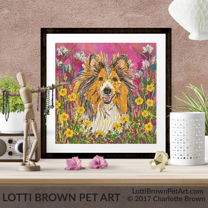 Sheltie art prints are available in my stores