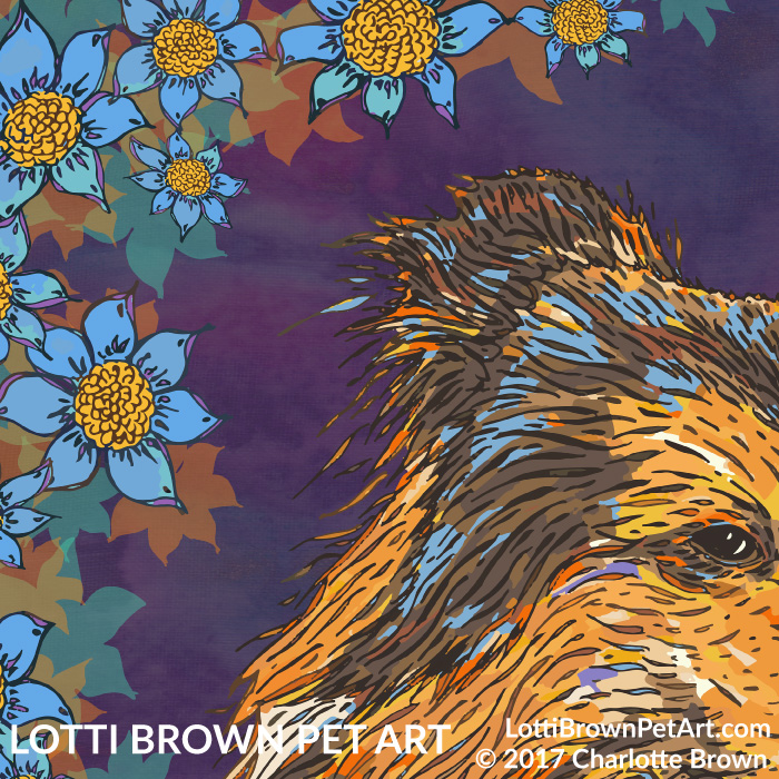 Detail of rough collie artwork