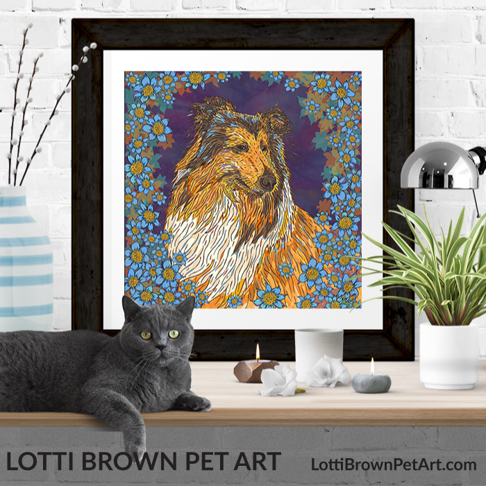 Rough collie art pints available from my store