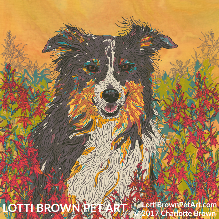 Beautiful Border collie art 'Cardinal Collie' by Lotti Brown