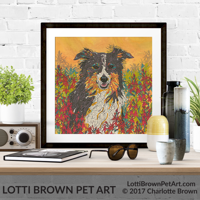 Border collie art pints are available from my online store