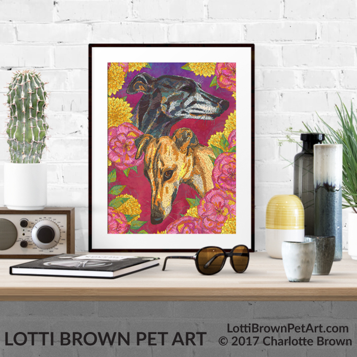 Colourful greyhound art pints are available from my online store